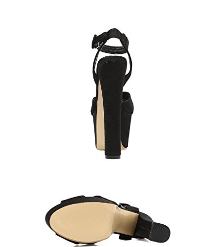 Black negro 18 XiaoGao de cm tacon super zapatos CTwq0