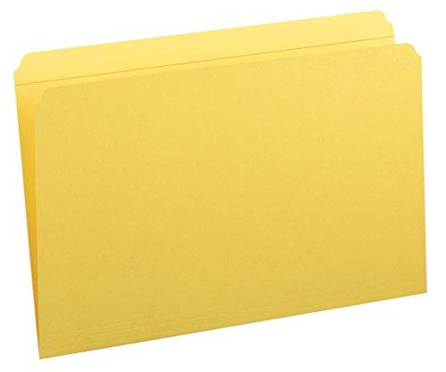 Smead File Folder, Reinforced Straight-Cut Tab, Legal Size, Yellow, 100 per Box (17910)