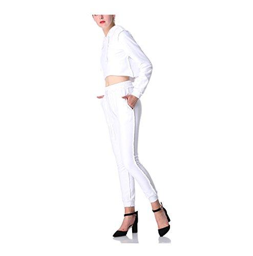 Blanco Mujer Slim Larga Capucha Chaqueta Sudadera Y Deportiva Pantalón Yoga Para Conjunto Oudan De Manga Fitness Con aBwqxnH1