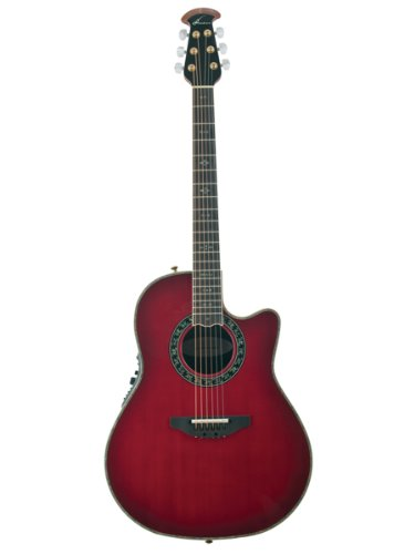 Ovation C2079AX-5 Custom Legend Deep Contour Cutaway Acoustic-Electric Guitar Bundle with Hardshell Case, Tuner, Strap, Strings, Picks, and Polishing Cloth - Cherry Cherry Burst -