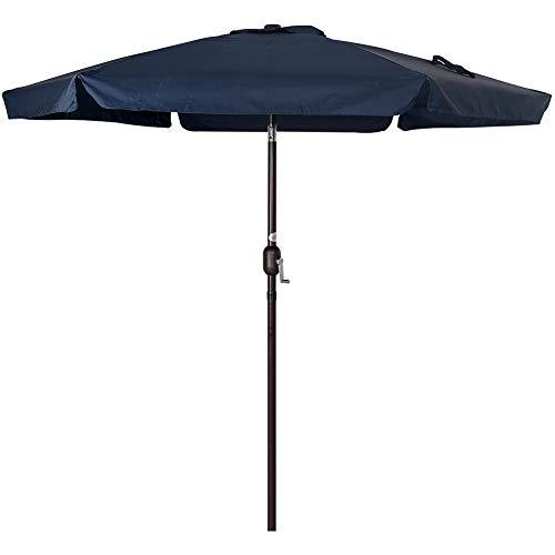 Sundale Outdoor 7.5 Feet Aluminum Beach Drape Umbrella Table Market Umbrella with Crank and Push Button Tilt for Patio, Garden, Deck, Backyard, 6 Fiberglass Ribs, 100% Polyester Canopy (Navy Blue)