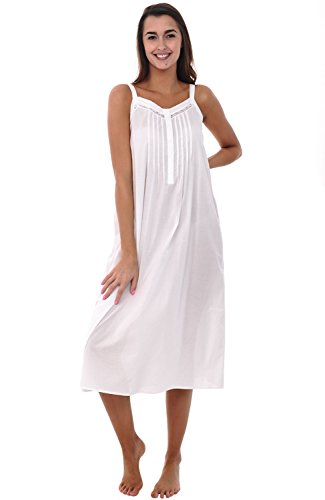 Del Rossa Women's 100% Cotton Lawn Nightgown, Long Tank Top Chemise, Small White (A0582WHTSM)