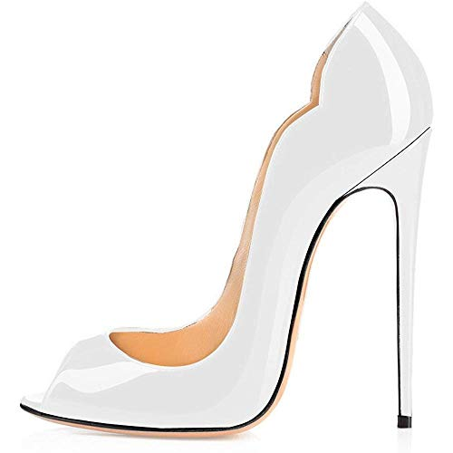 - Maguidern Peep Toe Thin High Heel Pumps, Women's 5 inches Stiletto Heel Pumps for Wedding and Party Dress White Size 8