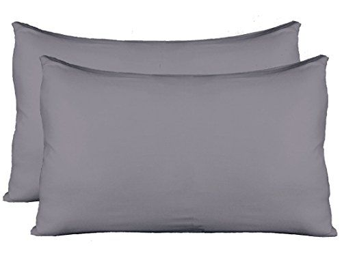 w Cases with Invisible Zipper, Universal Size fit all King, Queen and Standard Size Pillows, Modal Rayon Spandex 180 Gram, Soft than Cotton, Pack of 2, Gray (Jersey Knit Standard Pillow Case)