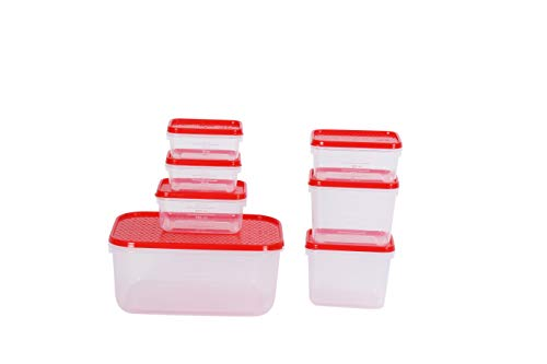 All Time Plastics Polka Container Set, Set of 8, Red