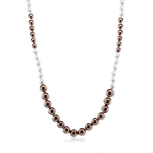 Gem Stone King 44inches Classic Handmade White and Brown 10mm to 12mm Shell Pearl Long Necklace