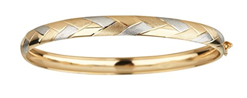 14K Two-Tone Gold Polished and Satin 7