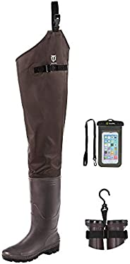 TideWe Hip Wader, Lightweight Hip Boot for Men and Women,2-Ply PVC/Nylon Fishing Hip Wader (Green and Brown)