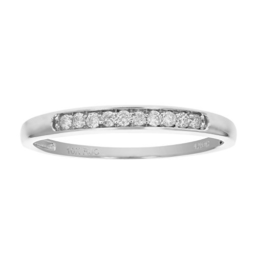 1/10 ctw Petite Diamond Wedding Band in 10K White Gold In Size 7 -