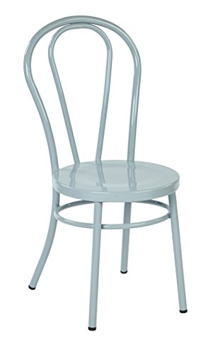 Pastel Metal Chair (Work Smart/OSP Designs Odessa Metal Dining Chair with Backrest (2 Pack), Pastel Quarry)
