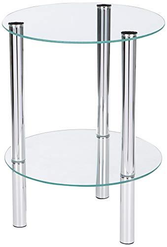 Haku Möbel 90243 Table Basse d\'Appoint Tube d\'Acier/Verre Trempé Chromé H  47 cm, Ø 35 c