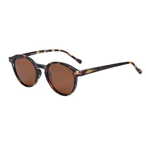 ZENOTTIC Round Sunglasses Polarized Vintage Classic Retro Sunglasses UV400 For Men and Women (MATTE TORTOISE/BROWN)