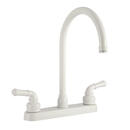 (Dura Faucet RV Kitchen Faucet with J-Spout Replacement for Motorhomes, 5th Wheel, Trailer, and Camper (White))