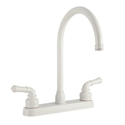 Dura Faucet (DF-PK330HC-WT RV J-Spout Kitchen Faucet (White) ()