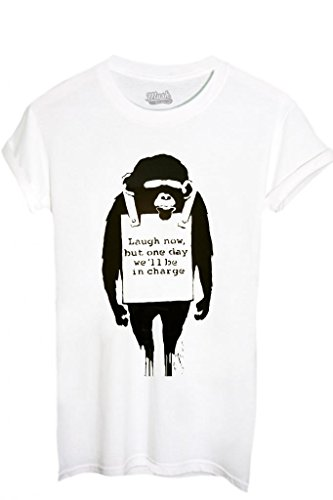 T-SHIRT BANKSY SCIMMIA - FAMOSI by MUSH Dress Your Style BIANCO