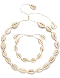 75c2a3cac Cowrie Shell Choker Necklace for Women Seashell Strand Bracelets Summer  Hawaiian Jewelry Set