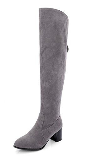 Aisun Womens Simple Confortable Bout Pointu Dos Robe À Glissière Bloc Moyen Talon Sur Le Genou Hauteur Haute Bottes Chaussures Gris