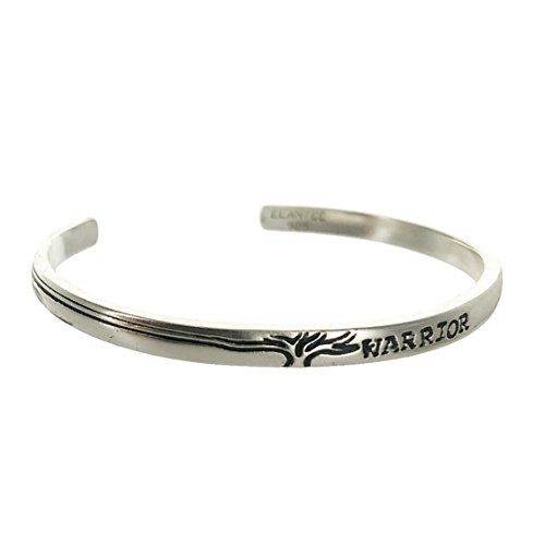 Sterling Silver Tree Warrior I Am Strong Cuff Bracelet 5oz 2.5'' dia by Elantee