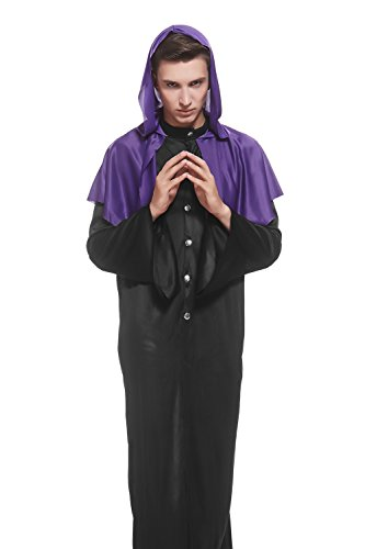 Priest Or Monk Wig (Adult Men Gloomy Monk Costume Pilgrim Dark Priest Robe Gothic Dress Up Role Play (Medium/Large, Violet, Black))