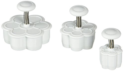 Ateco 1957 Daisy Plunger Cutters, Set of 3 Sizes, for Cutting Decorations & Direct Embossing, Spring-loaded Handle, Food Safe Plastic