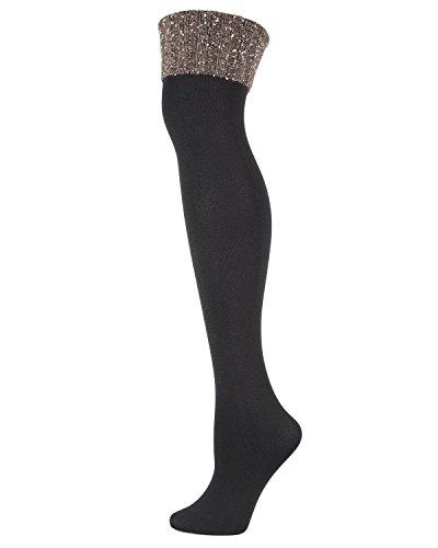 MeMoi London Fleece-Lined Over-the-Knee Sock - Ladies Winter Socks Black/Gray MF7 5221 One Size 9-11