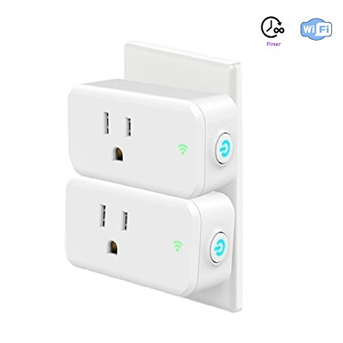 Lombex Smart Wifi Plug Socket Compatible With Alexa Google Home IFTTT Wifi Switch Outlet Wireless Remote Control Your Devices Anywhere,Timer Socket Switch For Your Household No Hub Required 2 Packs