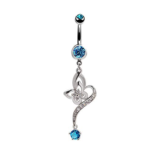 Mutreso Navel Ring Belly Button Curved Barbell Sapphire Flower Belly Ring Surgical Steel Piercing Jewelry