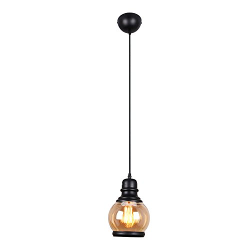 UNITARY BRAND Traditional Glass Shade Jar Pendant Light Max 60W With 1 Light Painted Finish