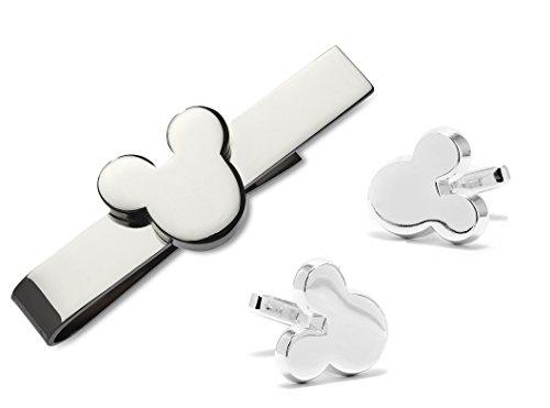 Walt Disney Mickey Mouse Silver Tone Tie Bar and Mickey Mouse Silhouette Silver Tone Cufflinks Set + Gift Box