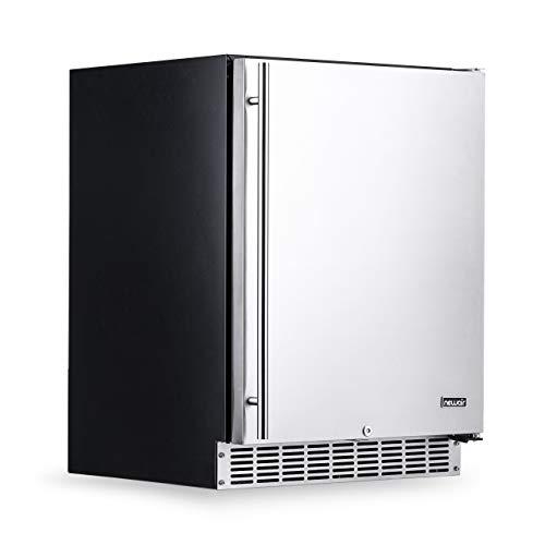 NewAir 24″ Outdoor Beverage Refrigerator With Weatherproof Stainless Steel and Auto-Closing Fridge Door | 160 Can Capacity | Built-In or Freestanding Outdoor Fridge
