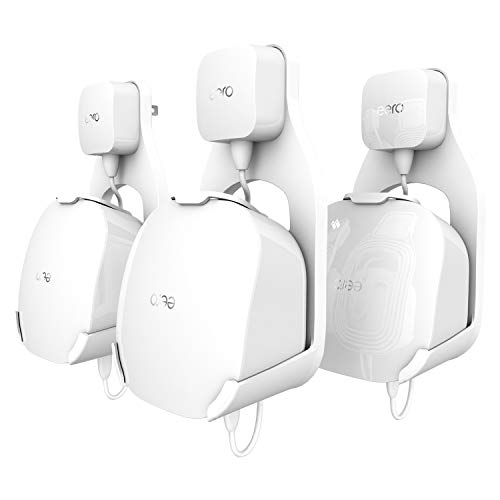 Wall Mount Holder for eero mesh WiFi System, The Simplest Wall Mount Holder Stand Bracket for eero mesh WiFi System Router No Messy Screws! (White(3 Pack))