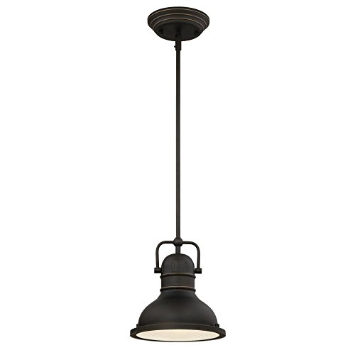 Westinghouse Lighting 63082B Boswell One-Light LED Indoor Mini Pendant, Oil Rubbed Bronze Finish with Highlights and Frosted Prismatic Lens, ()