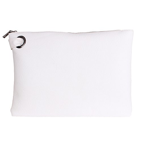 Aladin Oversized Clutch Bag Purse, Womens Large leather Evening Wristlet Handbag (White)