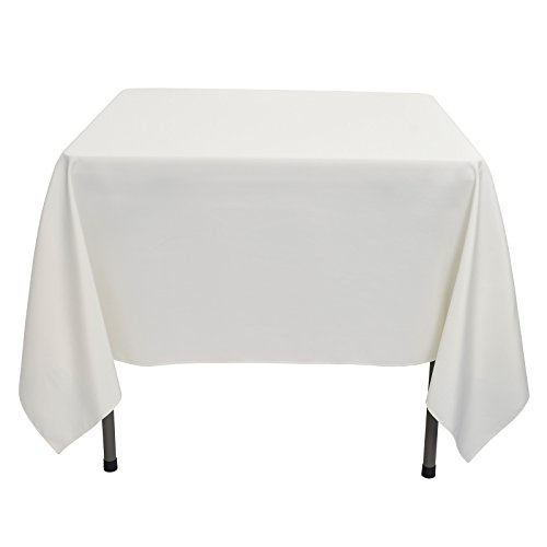 Remedios Square Tablecloth Solid Color Wrinkle-Free Polyester Table Cloth for Indoor and Outdoor Wedding Party Restaurant Banquet Home Dinner (Ivory, 85x85)