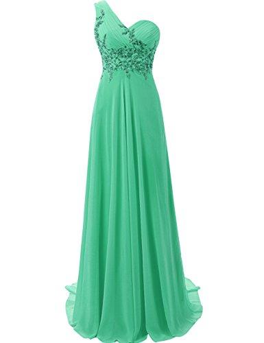 Honor Vestido Largo de Verde de la Mujer Noche JAEDEN Vestido Un Hombro de Baile Vestido de Gasa Dama wY8gaUqx