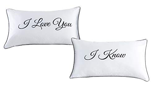 DasyFly Falling in Love Couples Pillowcases Wedding, Anniversary,V-day,Christmas, Romantic Gift Idea For Him For Her,Cute Lovers of pillowcase Set:I Love You,I Know