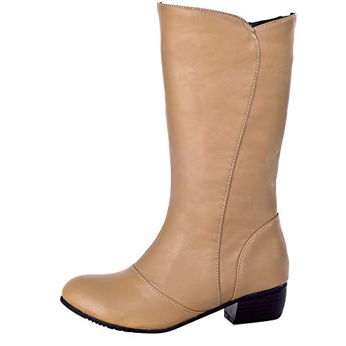 SMALLE ◕‿◕ Clearance,Women's Round Toe Shoes Waterproof Soft Surface Anti-Skid Low-Heeled Boots by SMALLE