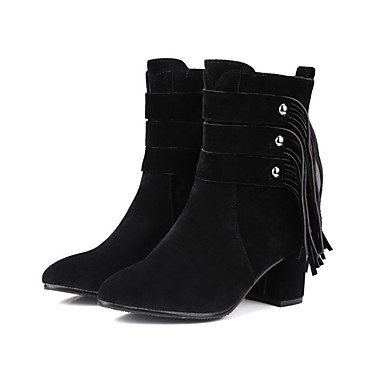 EU41 Flower RTRY Boots Office Heel US9 Women's Booties Comfort 8 10 Pointed Chunky Winter UK7 5 Ankle Fashion Boots Boots Fall Toe Shoes CN42 5 Suede Zipper Novelty For rSwqUr8y