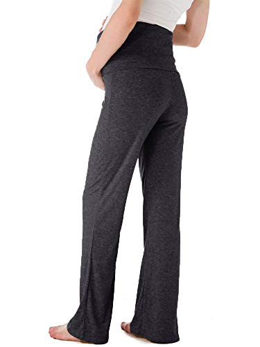 8817f441657d6 Ecavus Women's Maternity Wide/Straight Versatile Comfy Palazzo Lounge Pants  Stretch Pregnancy Trousers Charcoal