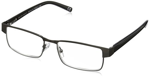 Foster Grant Men's Leo PolarizedSquareReaders , Gunmetal ,1.5