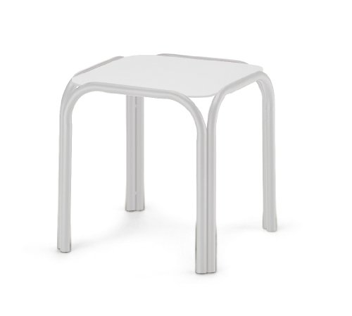 Telescope Casual Square Marine Grade Polymer End Table, 17-Inch, Gloss White Frame Finish with Snow Top For Sale