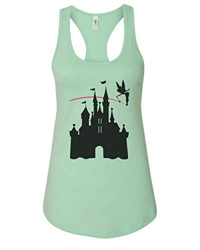 Women's Disney Castle Tinkerbell Ringspun Cotton Racerback Tank Top, Mint, - Castle Tinkerbell