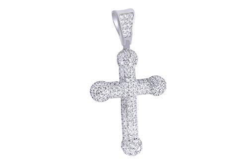 - 1 Carat (Ctw) Round White Natural Diamond Iced Out Hip Hop Jewelry Cross Pendant in Sterling Silver