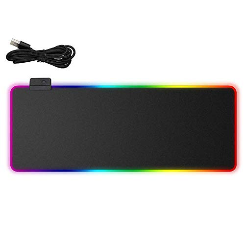 ZUEN RGB Mouse Pad Cloth Surface Optimization and Precision, Stitching Wear Side Support Plug and Play USB Interface Non-Slip Keyboard Key Pad, Black