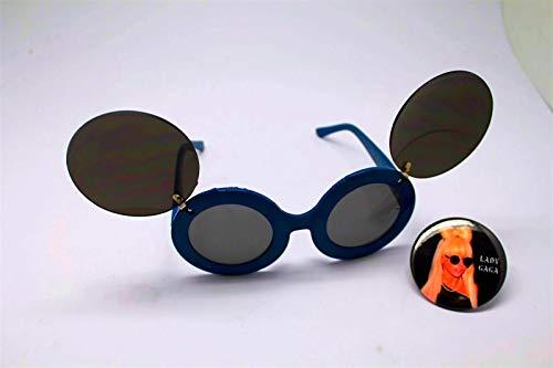 Button Pin of Lady Gaga Wearing Mouse Ear Flip Up Blue Black Lens Sunglasses #LU01 (Sunglasses Flip Lady Up Gaga)