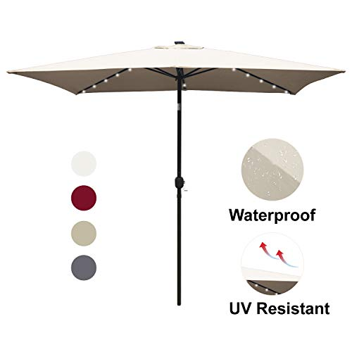 ABCCANOPY Rectangular Patio Umbrella Solar Powered Outdoor Umbrellas Market Table Umbrella with 26 LED Lights, Tilt and Crank for Patio Deck and Pool, 6.6 by 9.8 Ft (Light - Umbrella Outdoor