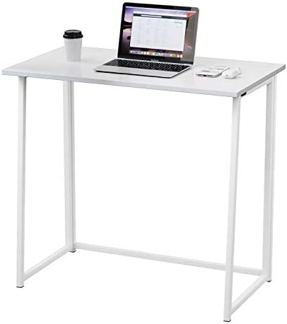 Dripex Folding Desk Computer Desk No Assembly Required Home Office Desk Folding Hobby Craft Table White
