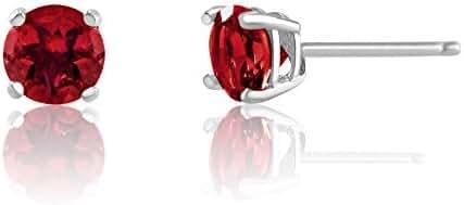 3mm Birthstone Round Cut Genuine Gemstone Rhodium Plated Sterling Silver Basket Setting Stud Earrings