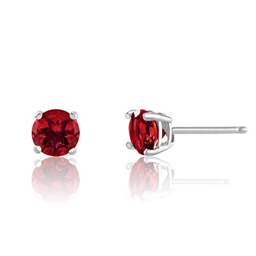 t Round Red Garnet Rhodium Plated Sterling Silver Basket Setting Stud Earrings (Faceted Garnet Post Earrings)
