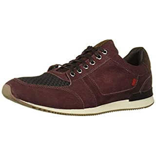 Marc Joseph New York Men's Genuine Leather Made in Brazil Luxury Fashion Trainer Sneaker, Wine Nubuck, 7 M US